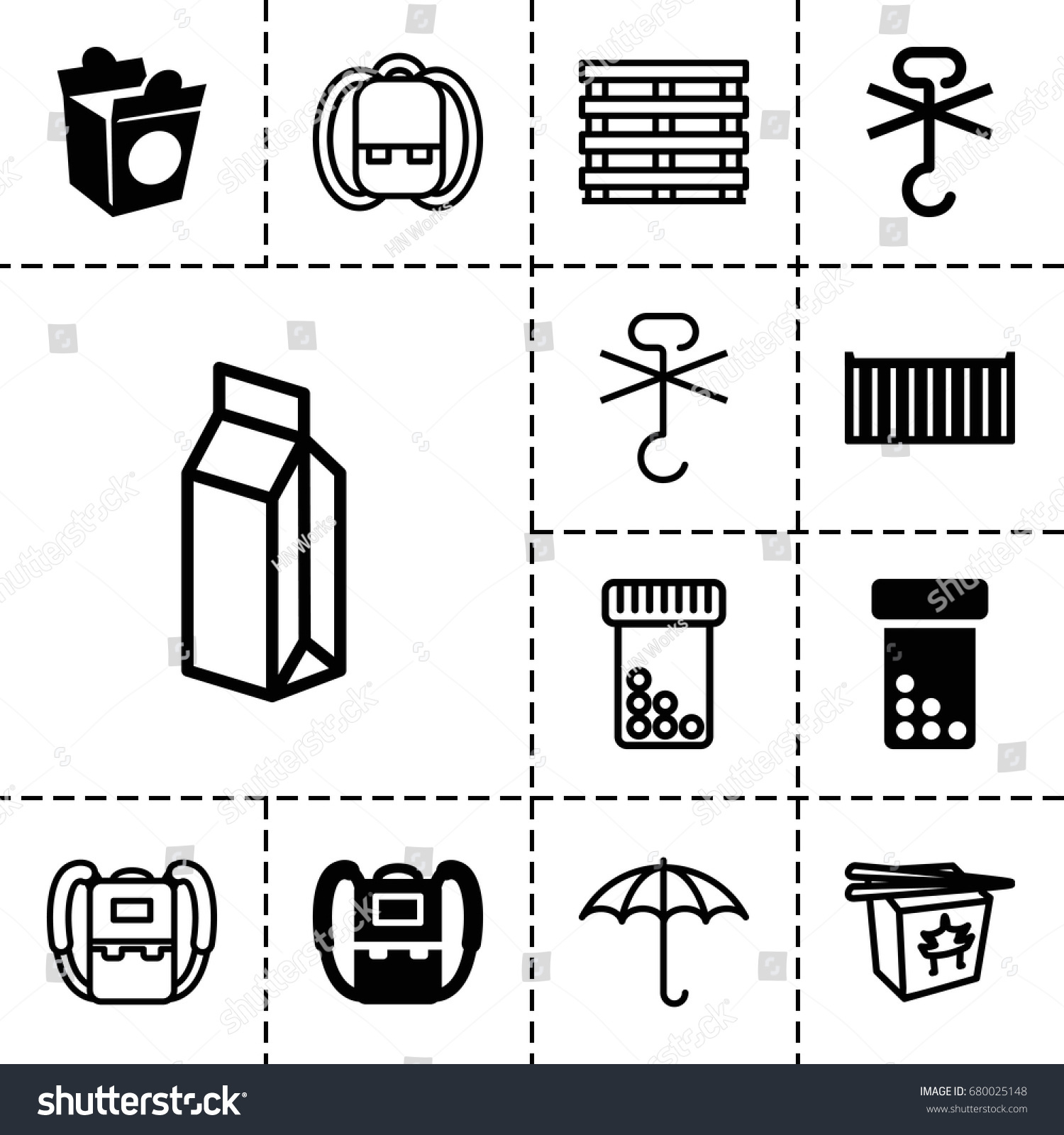 white box no outline. pack icon set of 13 filled and outline icons such as backpack take white box no
