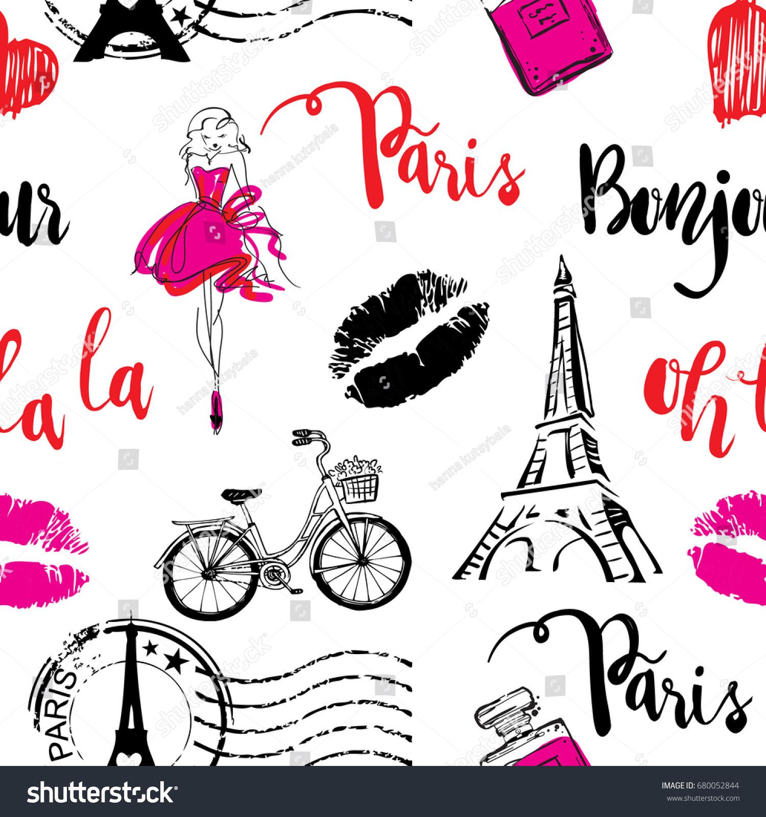 As Creation Pink Paris Pattern Eiffel Tower Childrens: Fashion Seamless Pattern Bonjour Paris Pattern Stock