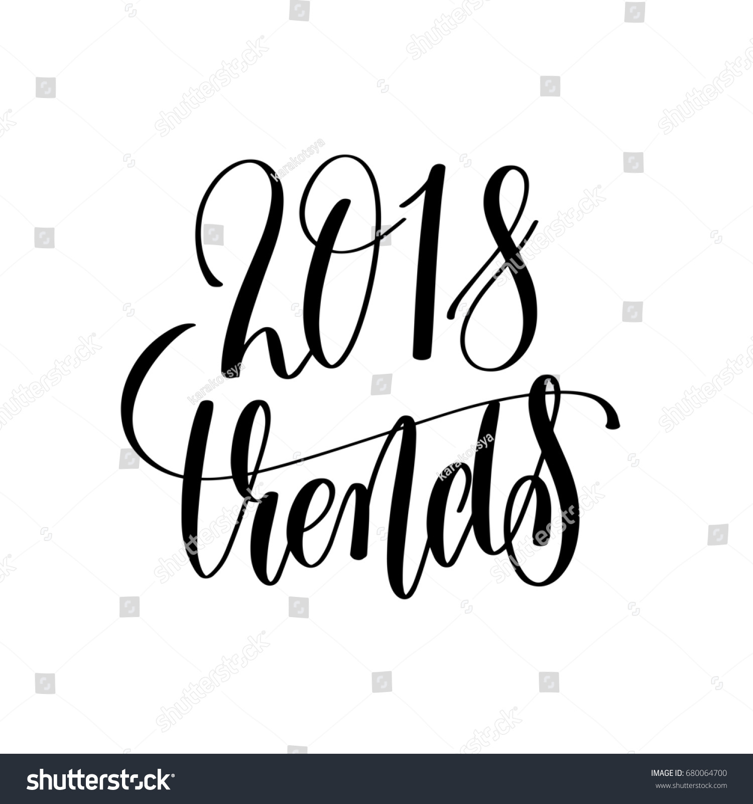 2018 Trends Hand Lettering Text Calligraphy Stock