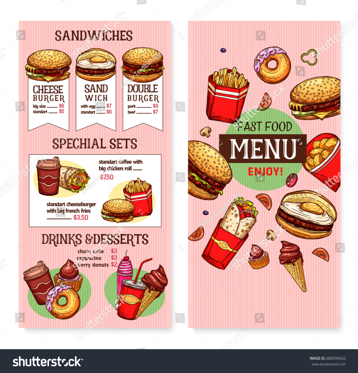 Vector De Stock Libre De Regalias Sobre Fast Food Restaurant Menu Vector Template680099620