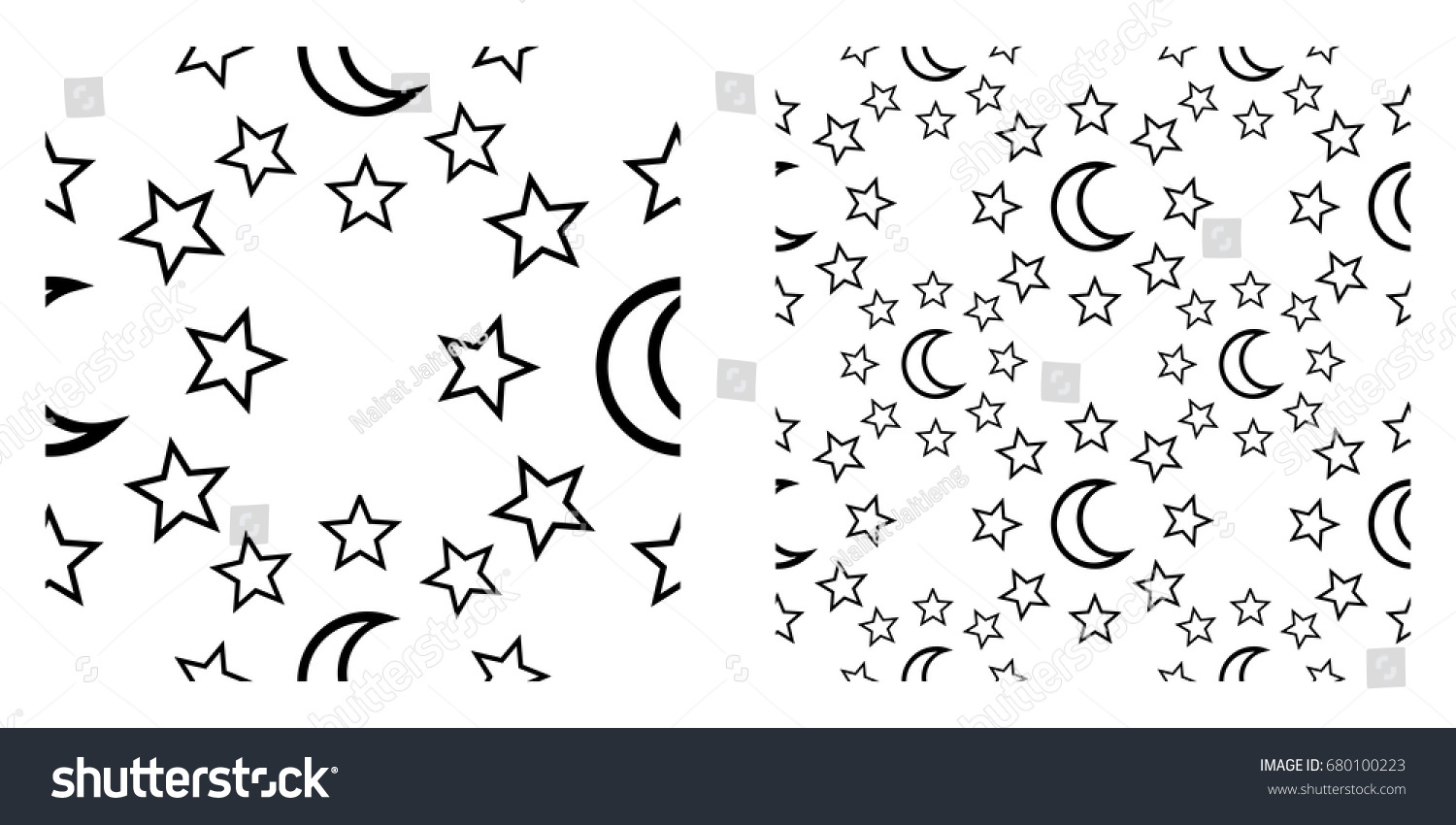 Symmetry Seamless Pattern Crescent Moon Star Stock Vector Royalty