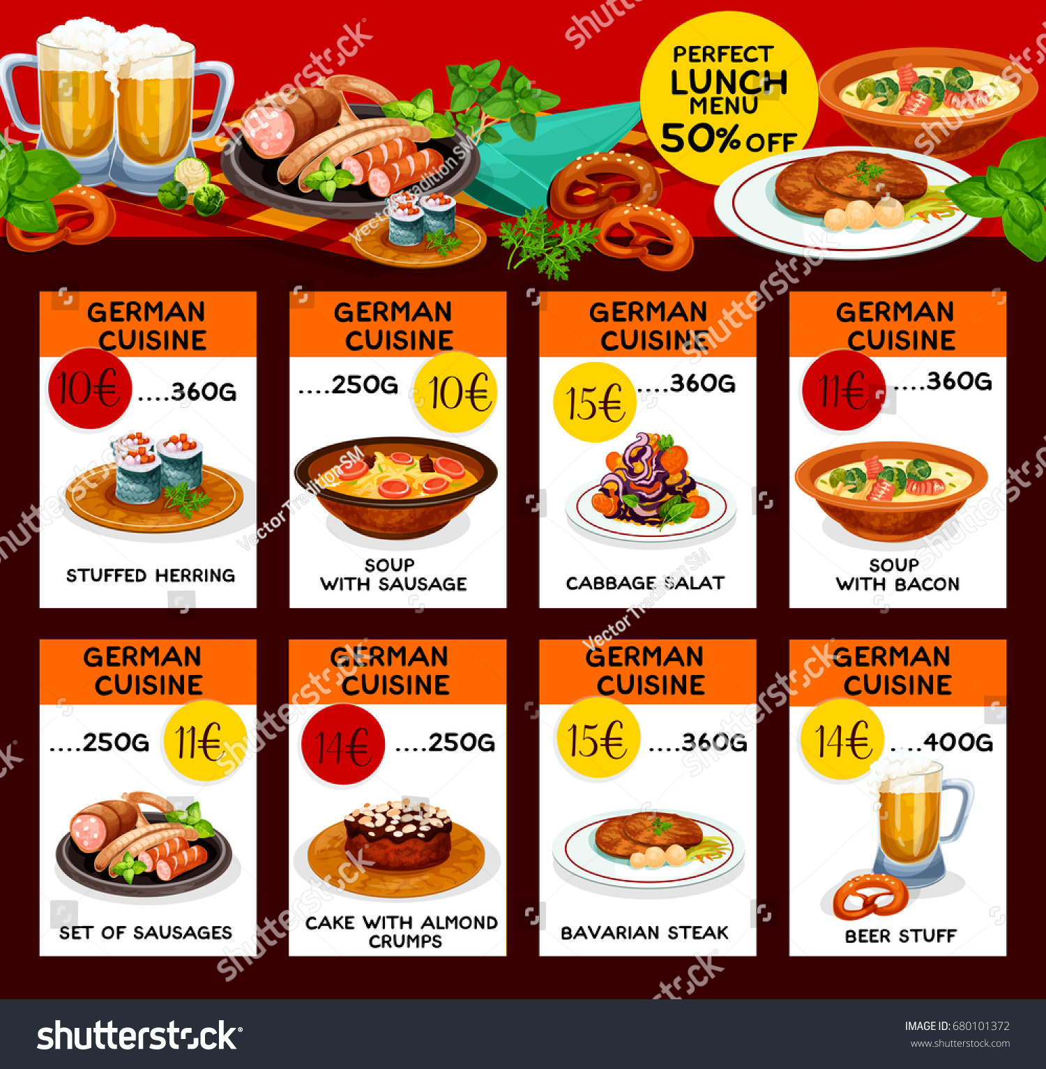 German Cuisine Menu Price Cards Restaurant Stock Vector 2018