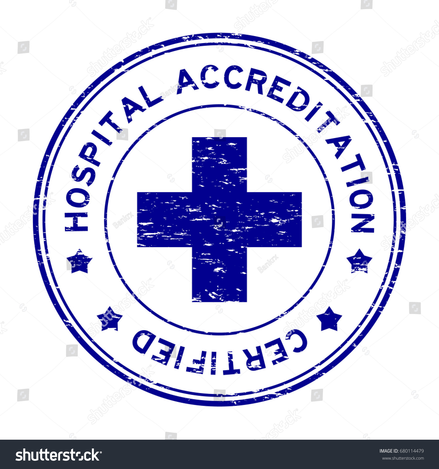 Grunge Blue Hospital Accreditation Certified Round Rubber Stamp