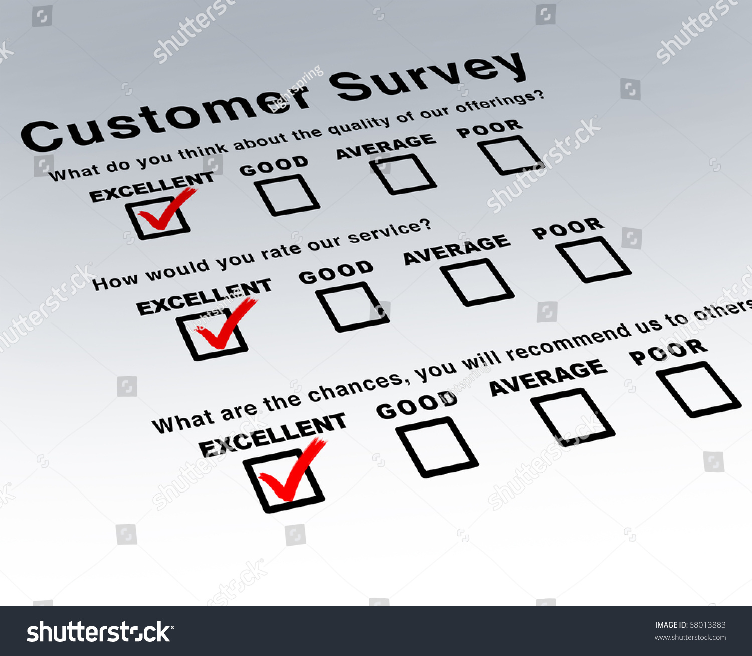 excellent customer survey very good service stock illustration 68013883 shutterstock