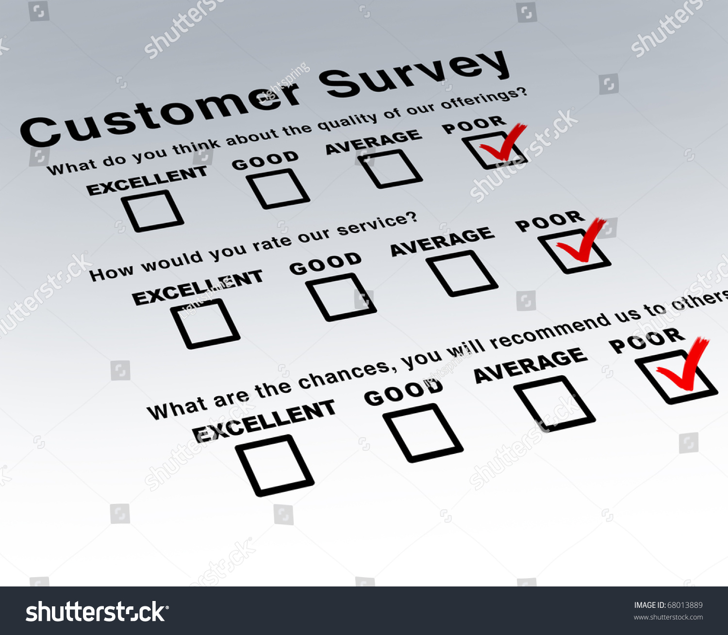 Poor Customer Survey Terrible Service Questionnaire – Customer Survey