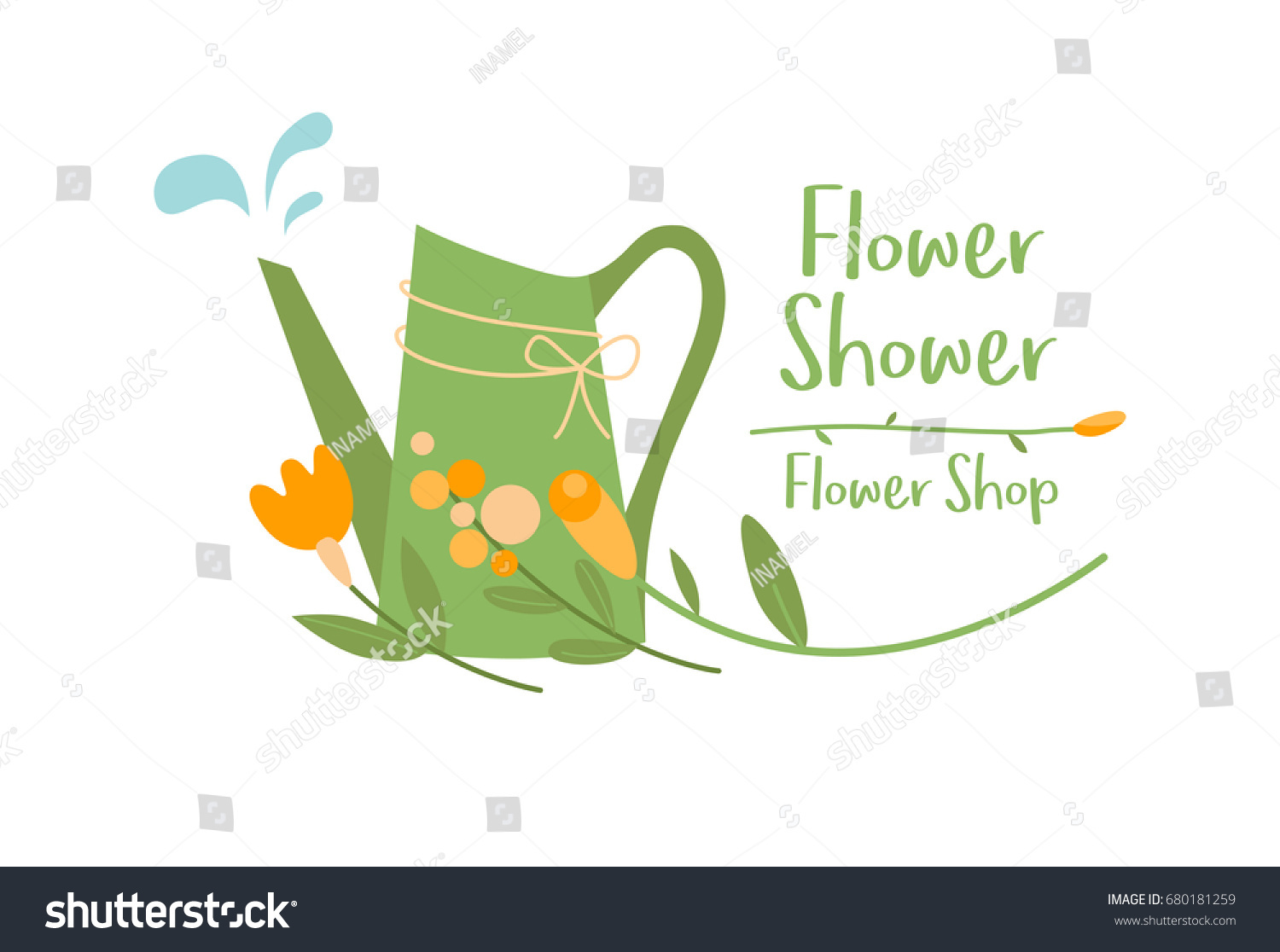 watering can flowers lace water drops stock vector royalty free