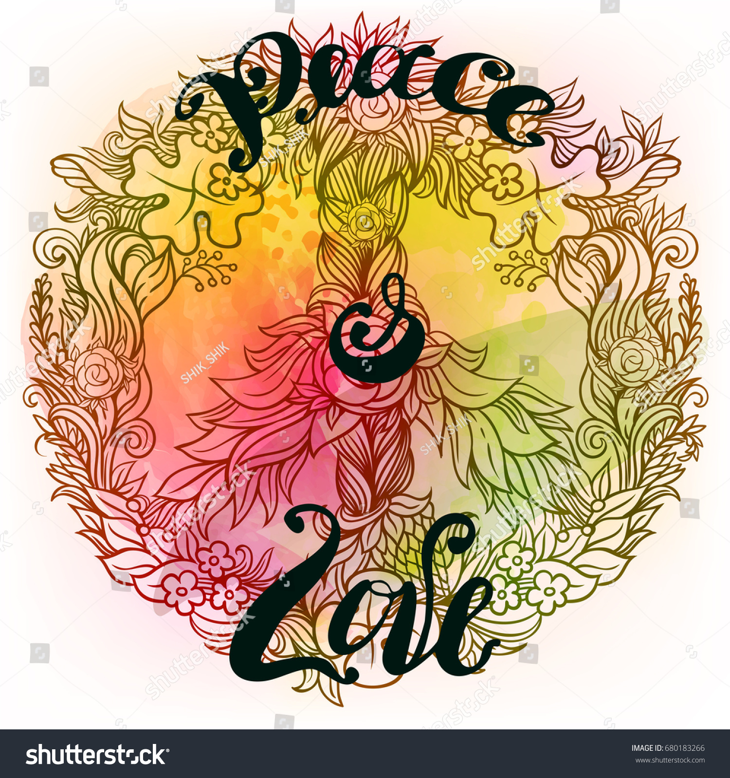 Wreath flowers leaves form pacific peace stock vector 680183266 wreath of flowers and leaves in the form of pacific peace hippie symbol freedom biocorpaavc Image collections