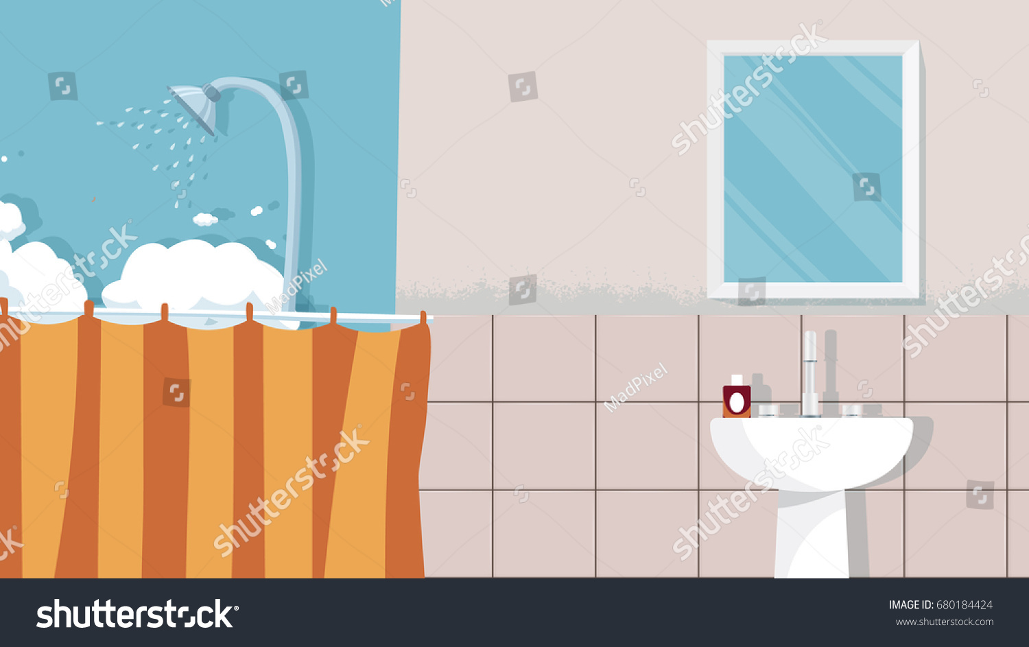 Home Bathroom Background Vector For Cartoon Animation Advertise Campaign