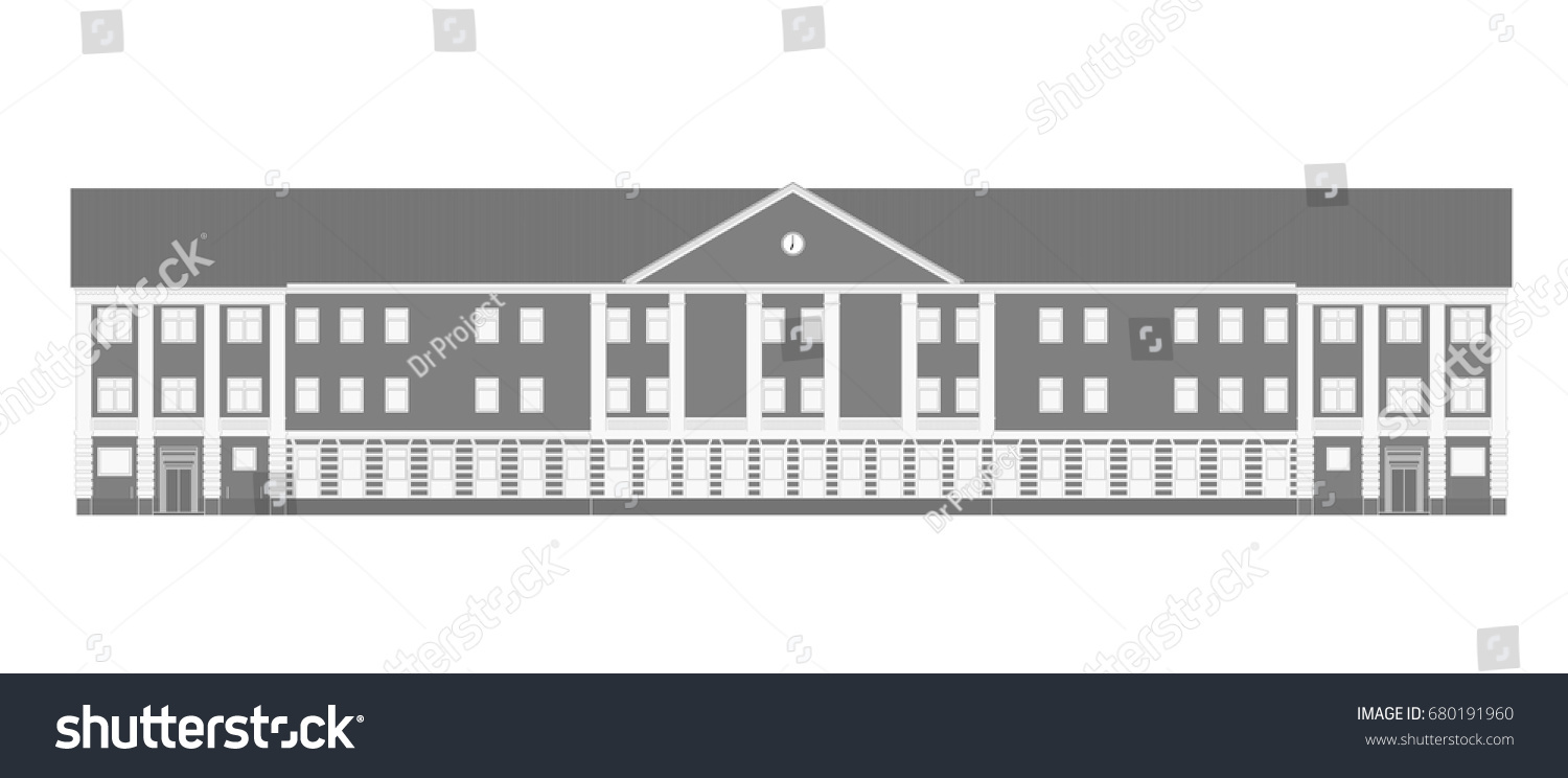 Monochrome school building isolated on white stock vector 2018 monochrome school building isolated on white background old school architecture vector blueprint for your malvernweather Images