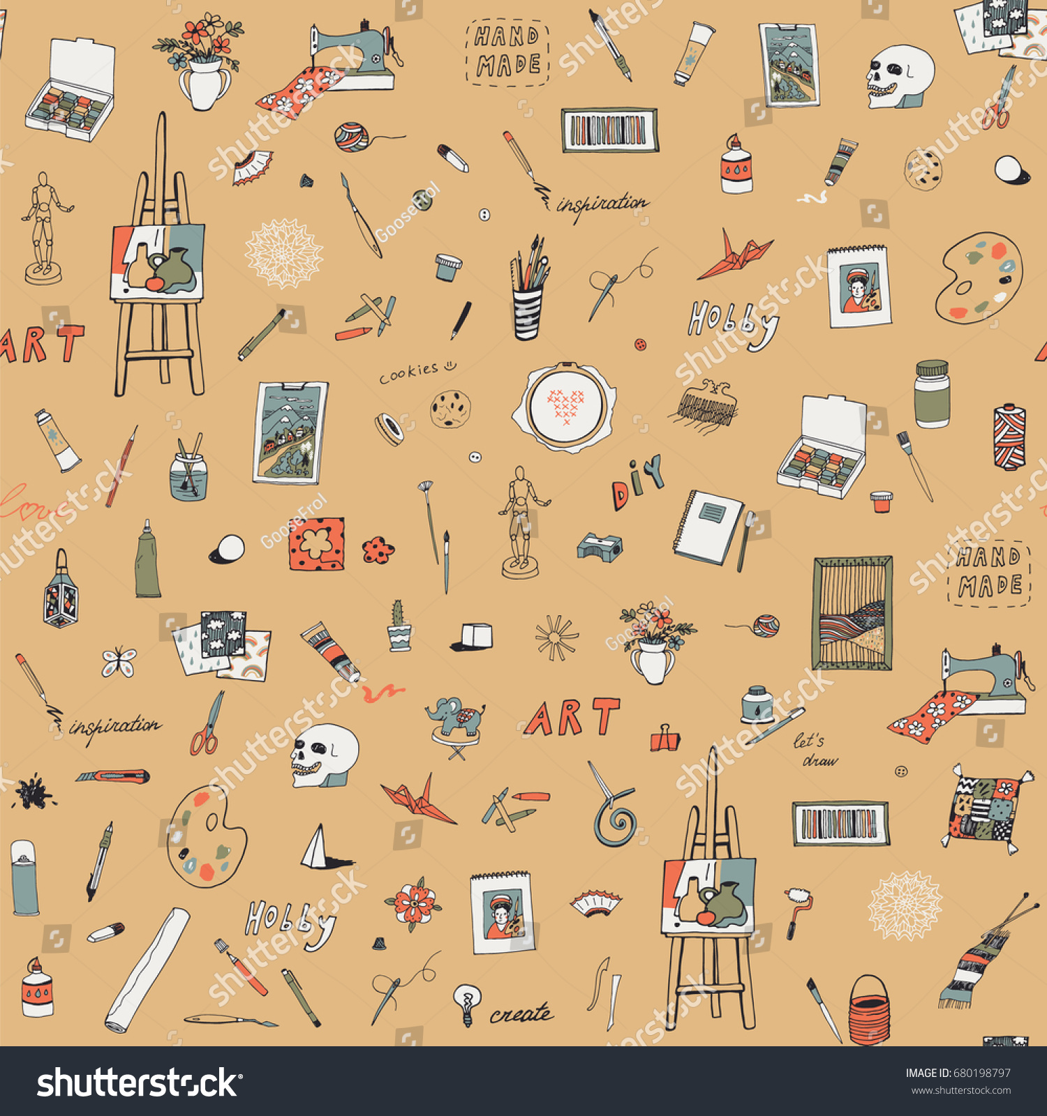Arts Crafts Doodle Vector Objects Seamless Stock Vector (Royalty ...
