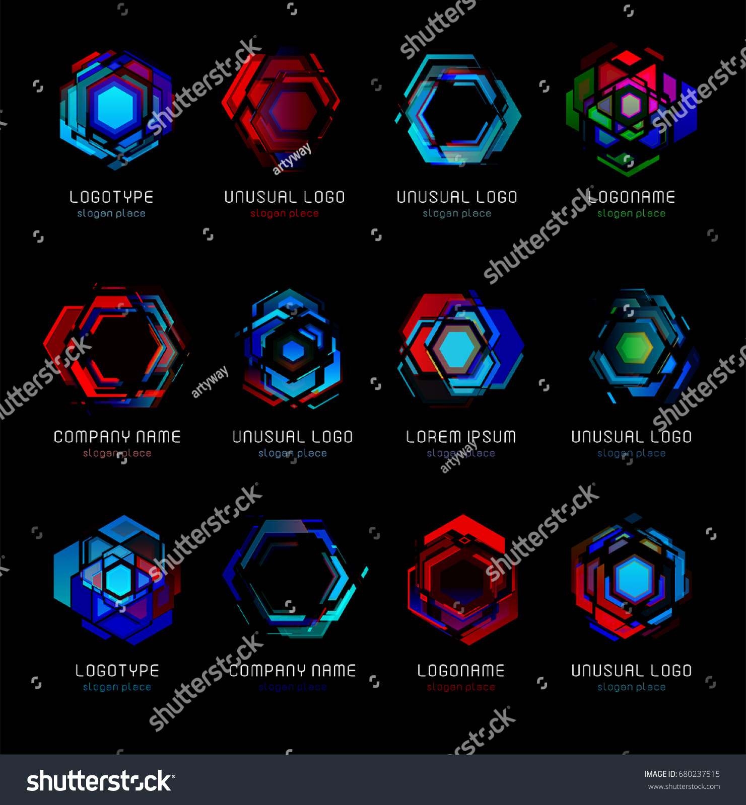 Futuristic Reactor Abstract Colorful Vector Logo Template Innovative Technologies Digital Design Effect Logos Set On