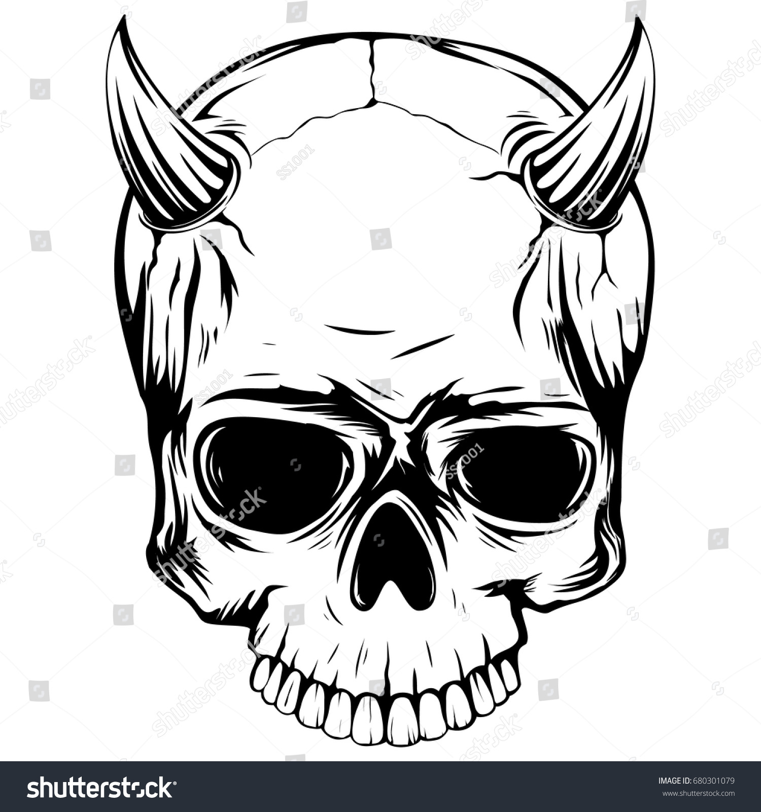 4c3aff99 Abstract vector illustration black and white skull demon with horns. Design  for tattoo or print t-shirt . - Vector