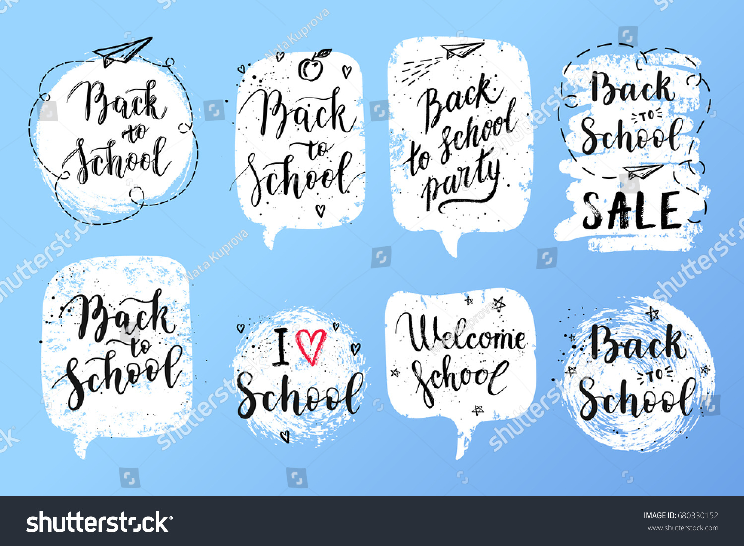 Back school labels greeting cards set stock vector 680330152 back to school labels greeting cards set vector quote i love school back kristyandbryce Gallery