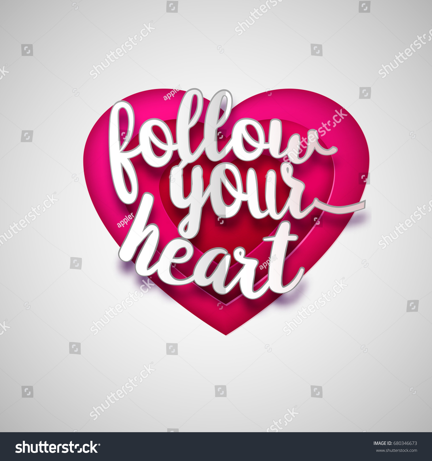 Follow Your Heart Valentines Greeting Card Stock Illustration