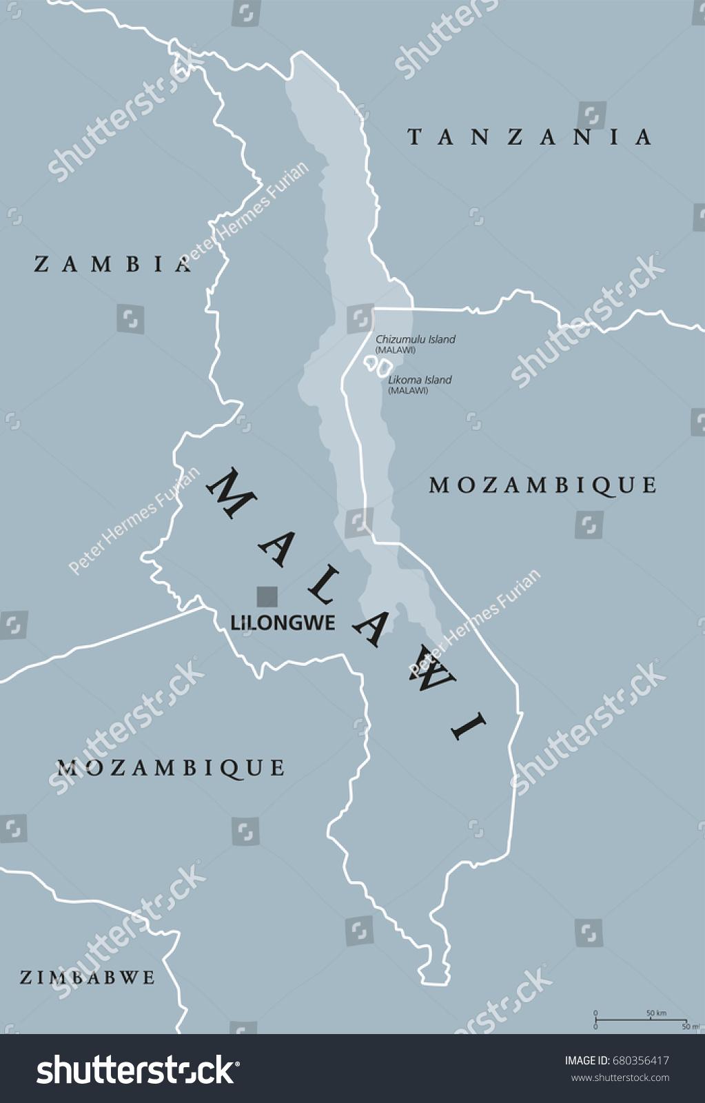 Malawi Political Map Capital Lilongwe Republic Stock Vector