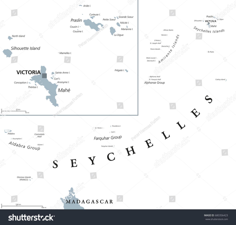 Seychelles Political Map Capital Victoria On Stock Vector - Seychelles victoria map indian ocean