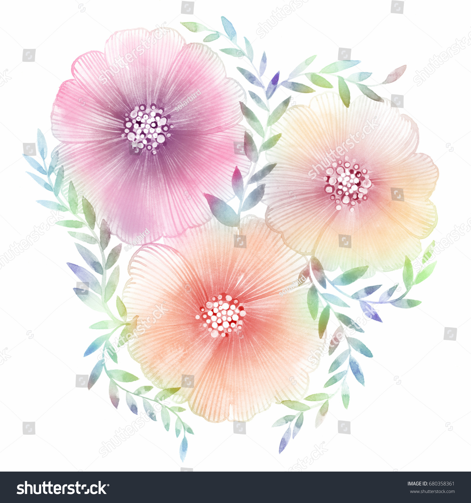 Charming Bouquet Summer Flowers Lovely Beautiful Stock Illustration