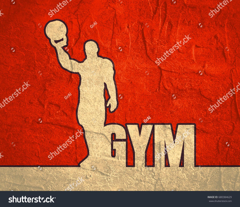 Bodybuilder Kettlebell Outline Silhouette Gym Word Stock