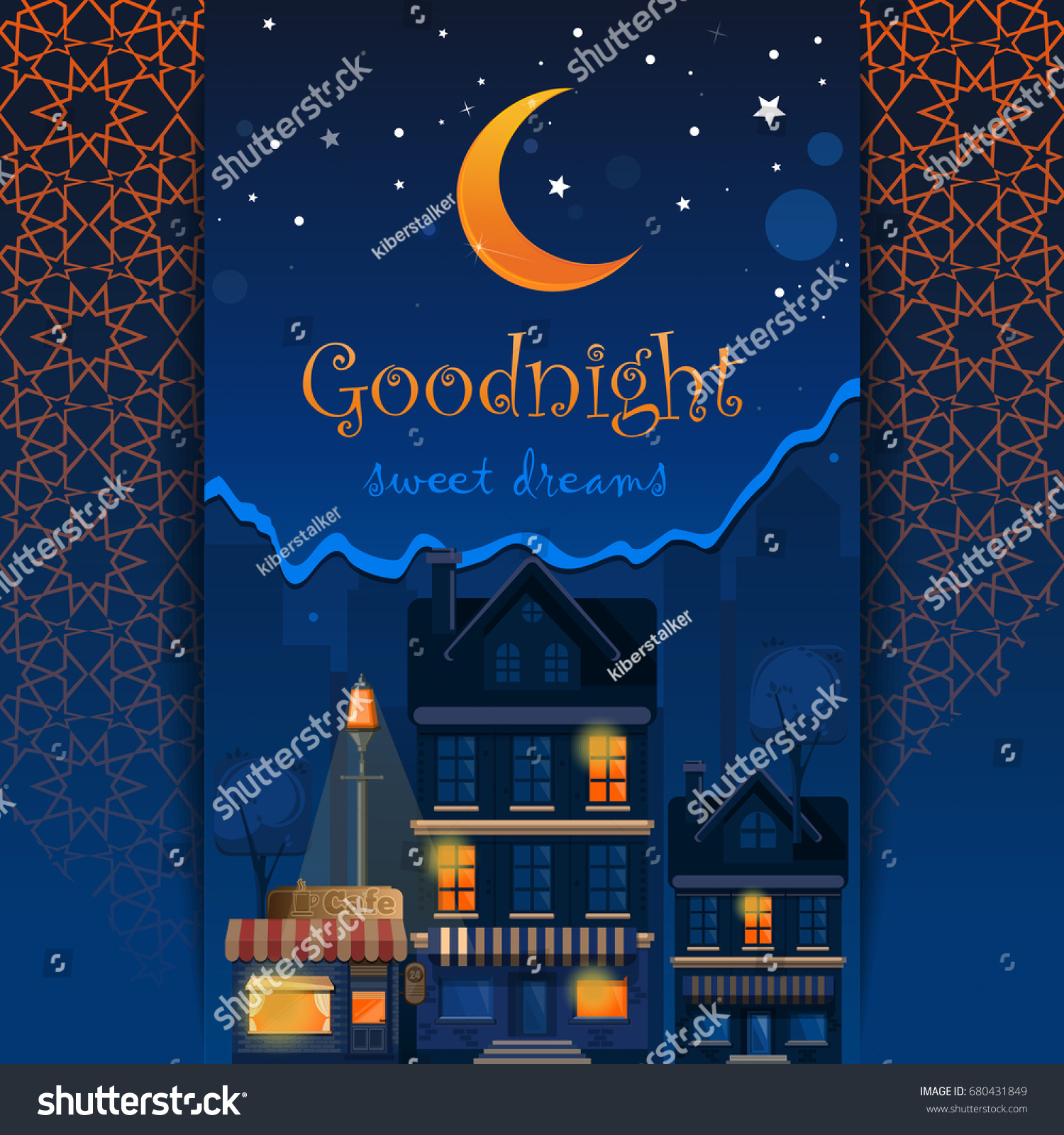 Goodnight Card Goodnight Sweet Dreams Night Stock Vector Royalty
