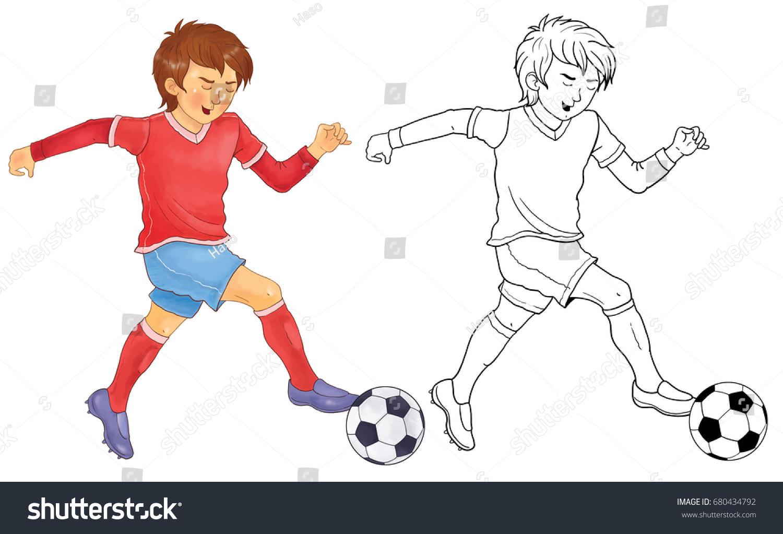 Football Soccer Sports Cute Footballer Ball Stock Illustration 680434792