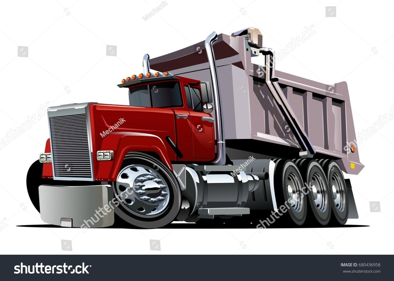 vector cartoon dump truck available eps10 stock vector 680436958