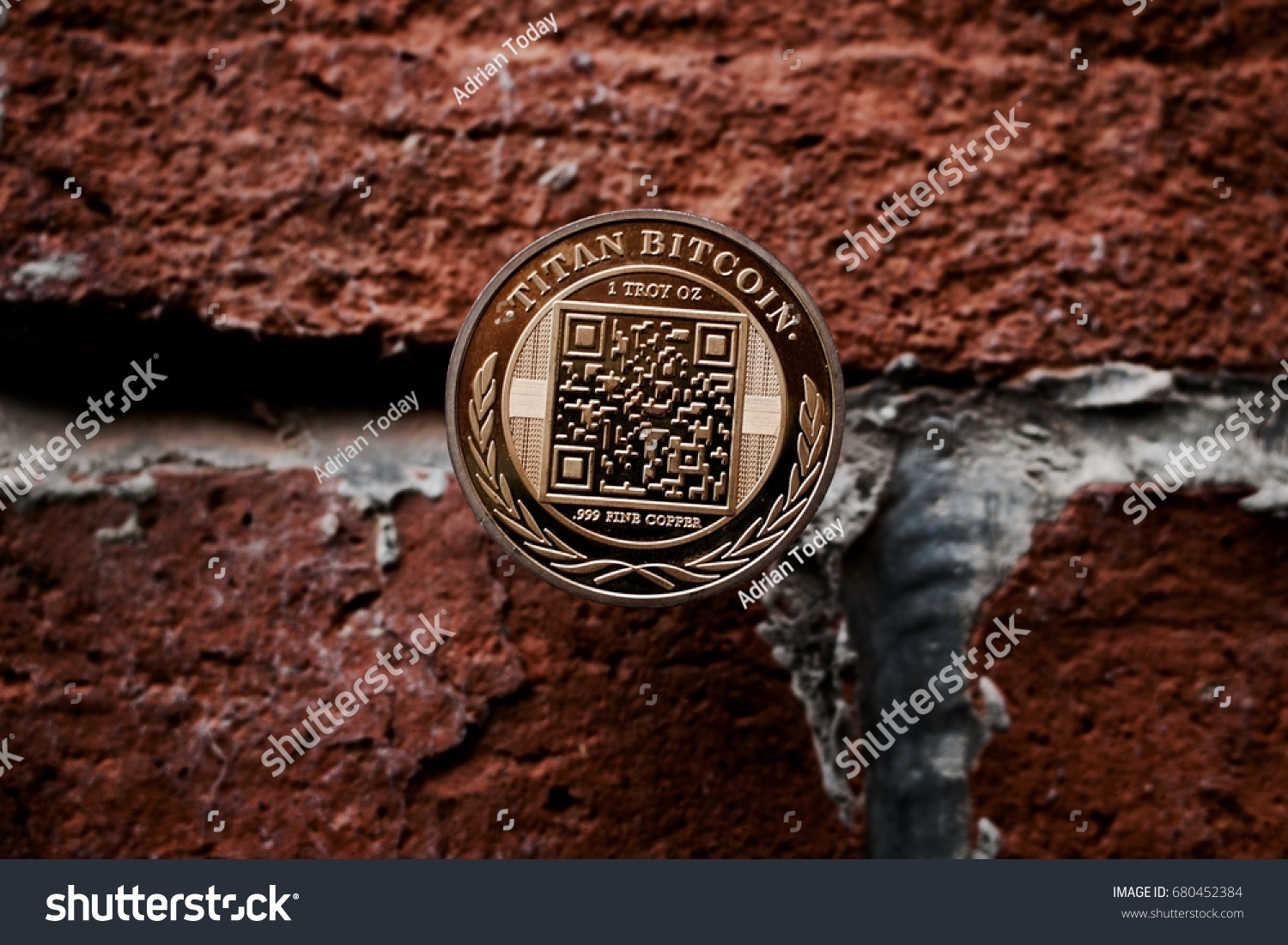 Cryptocurrency Physical Gold Titan Bitcoin Coin Stock Photo