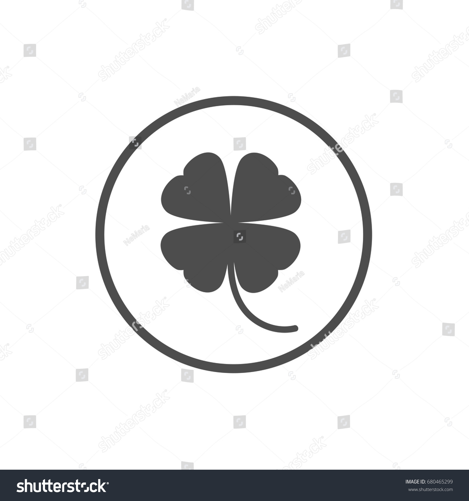 black flat icon irish clover circle stock vector 680465299