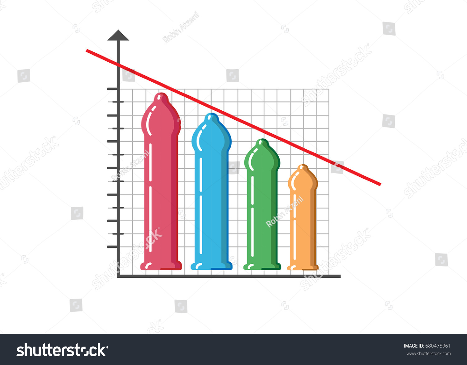 different size of penises such as small medium large and extra large,  Vector colorful chart