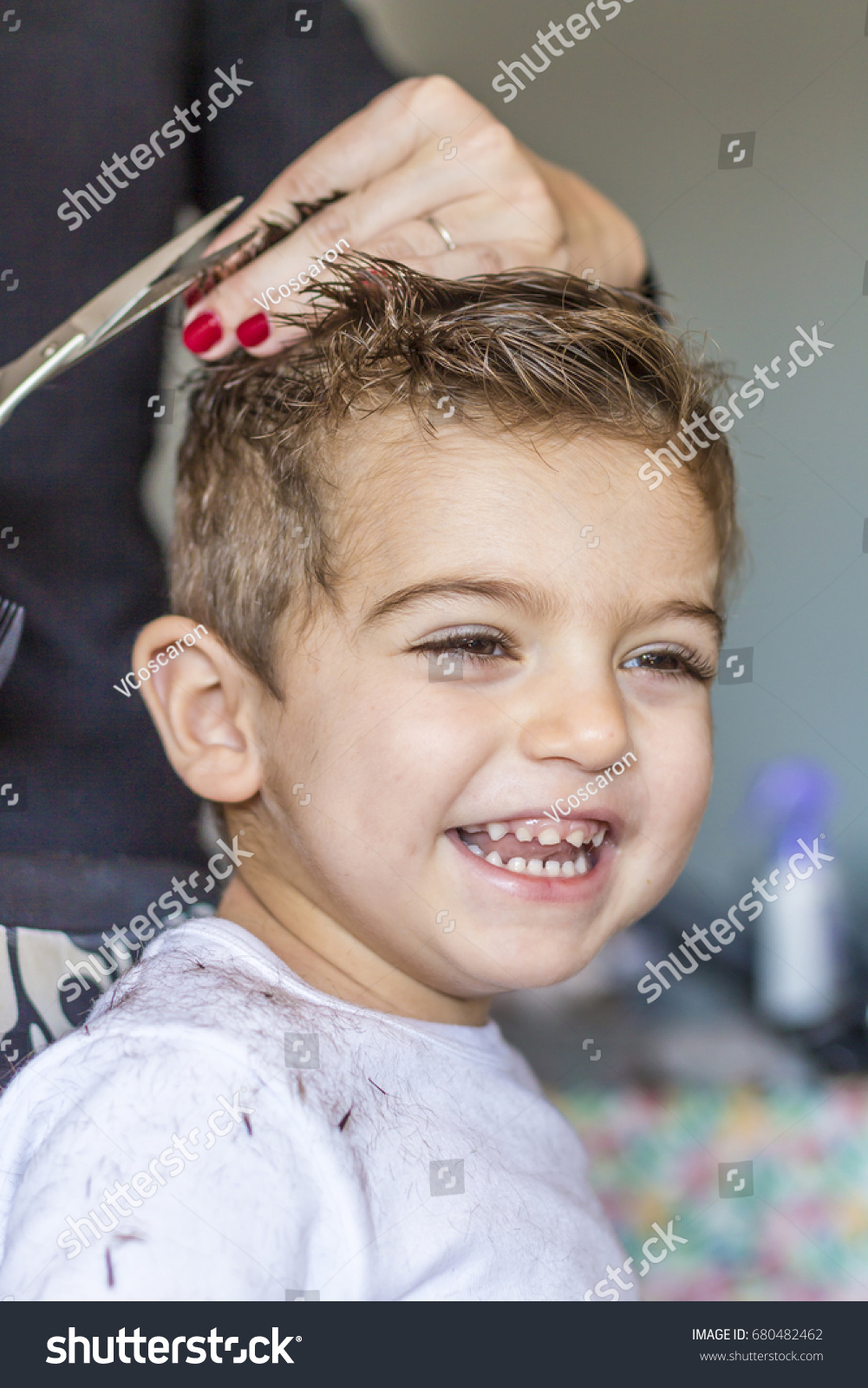 Cute Young Boy Getting Haircut Home Stock Photo Edit Now 680482462