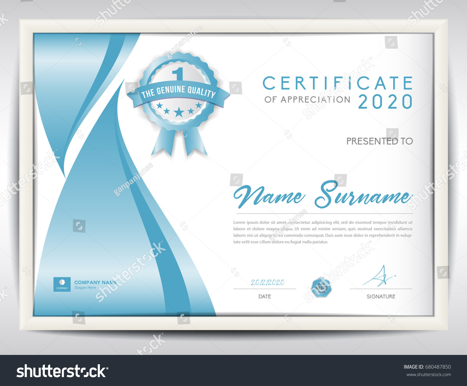 Certificate Template Vector Illustration Diploma Layout Stock Vector ...
