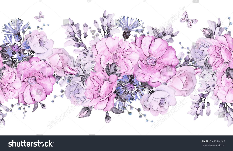Seamless Pattern Border Pink Purple Flowers Stock Illustration