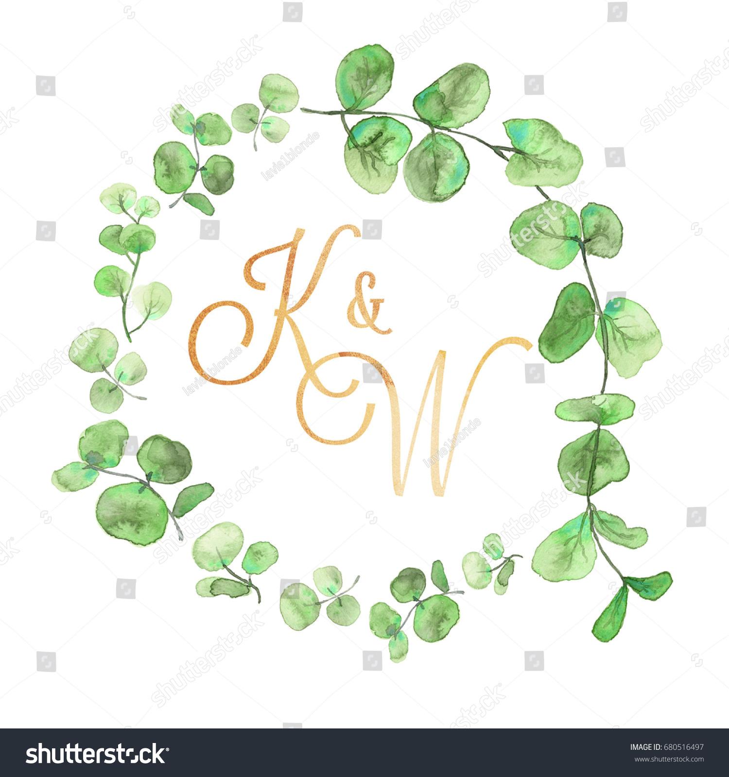 Watercolor Wedding Wreath Monogram Floral Decoration Stock ...
