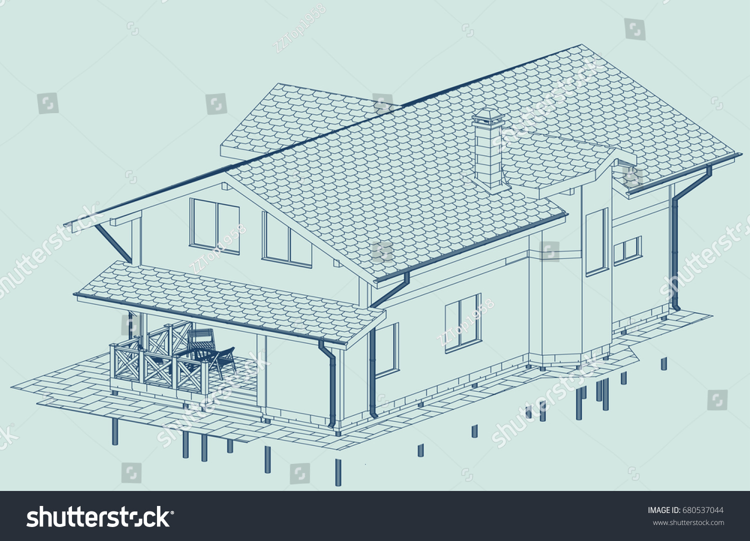 Authors Design Of Residential House Attic Window And Bay Blueprint Perspective View