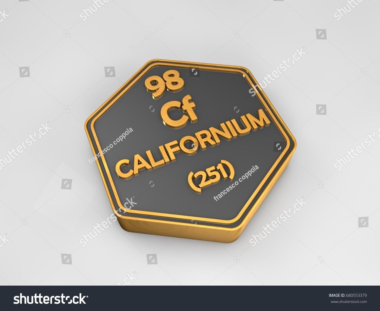 Californium cf chemical element periodic table stock illustration californium cf chemical element periodic table hexagonal shape 3d render gamestrikefo Images
