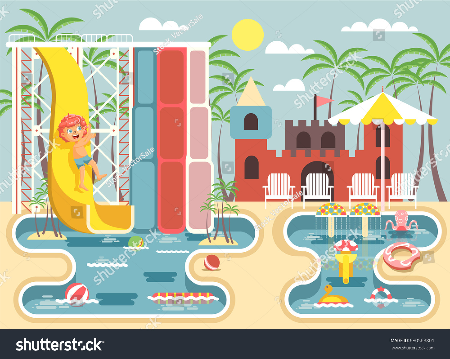 Stock vector illustration cartoon character lonely child redhead boy riding water slide falling into pool frolicking