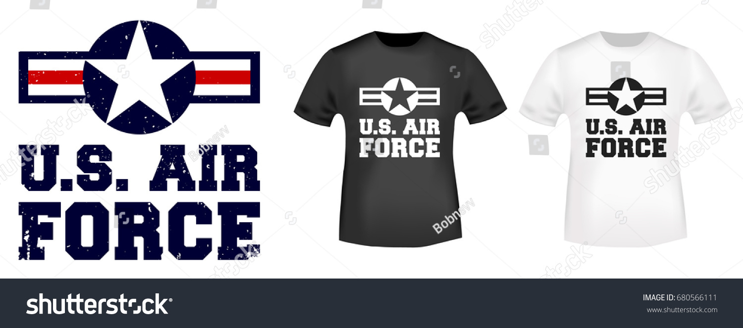 Tshirt print design us air force stock vector 680566111 for T shirt printing and labeling