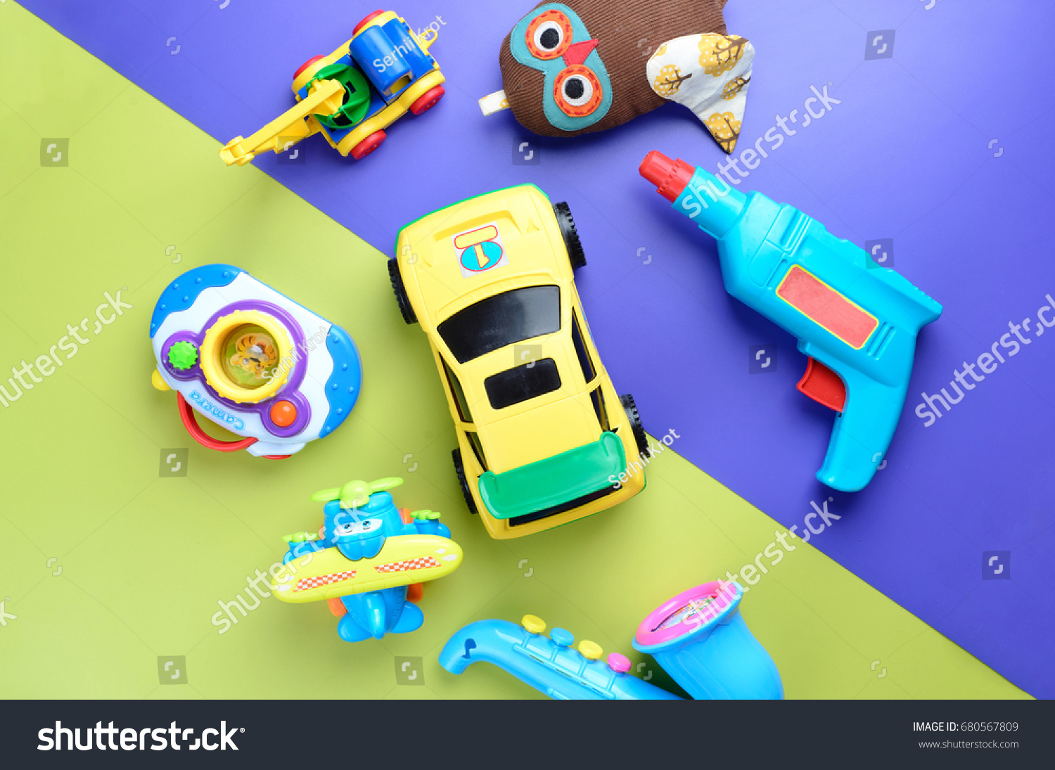 Toys For Boys To Color : Boys toys on color background top stock photo edit now 680567809