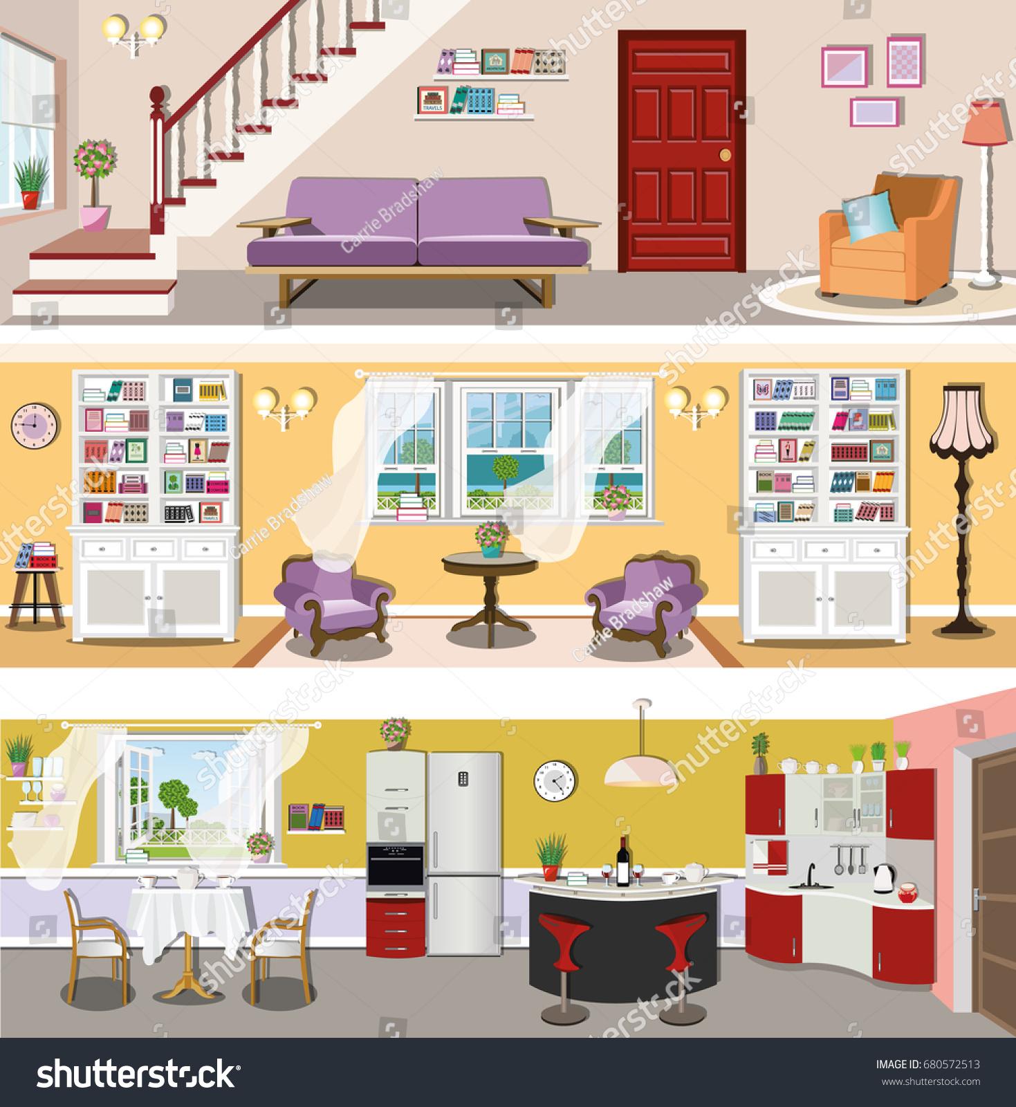 Set Colorful Modern Vector Interior Design Stock Vector