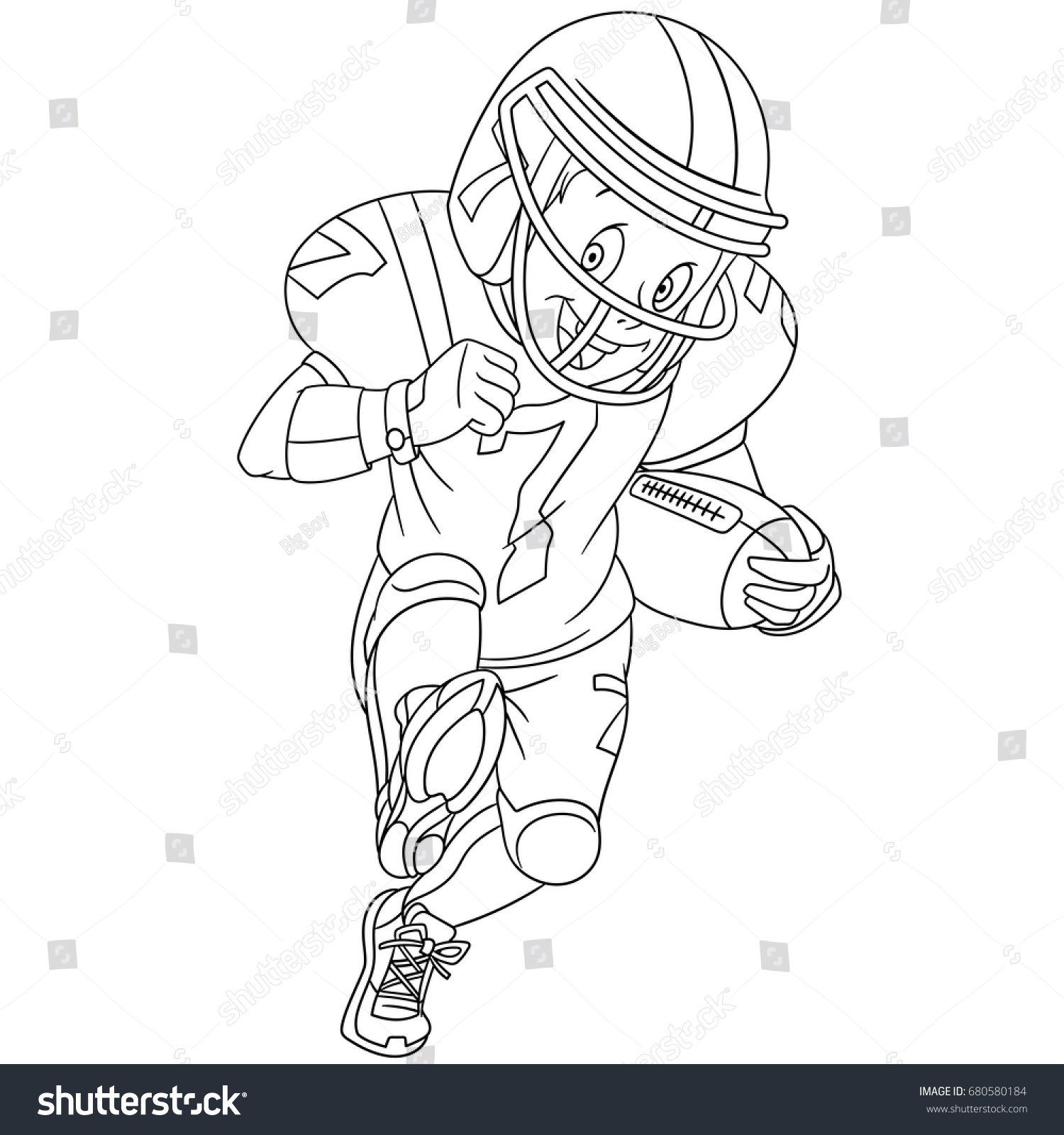 coloring page boy playing rugby american stock vector 680580184