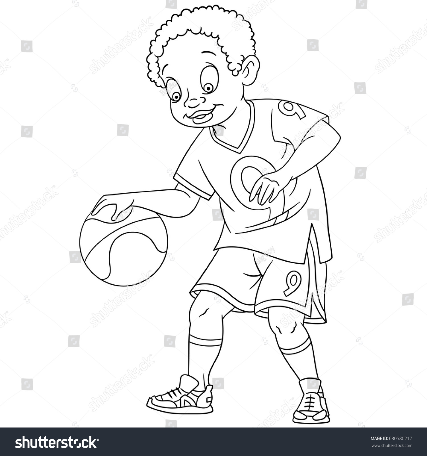 Coloring Page Boy Playing Basketball Colouring Stock Vector (Royalty ...