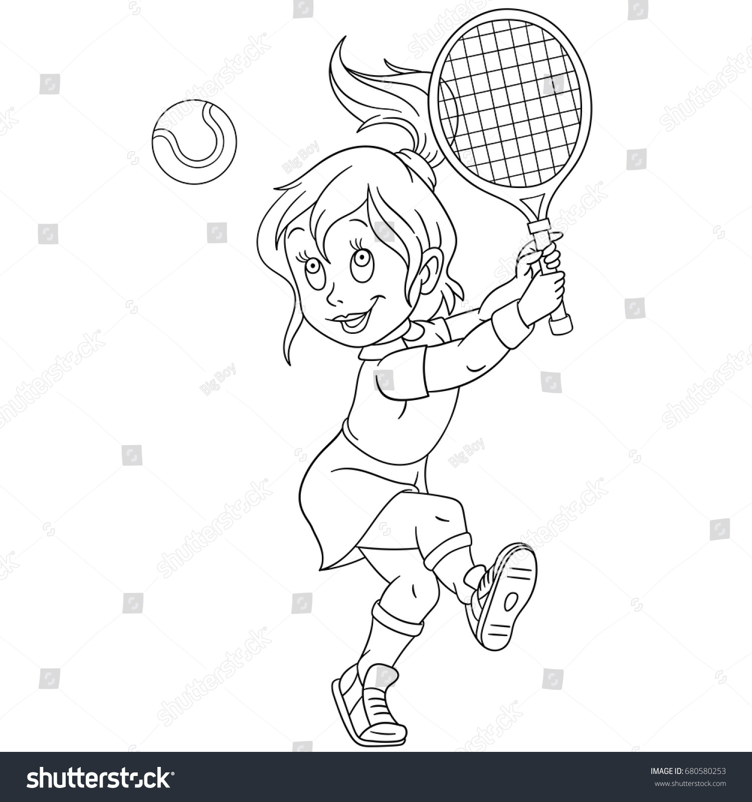 coloring page playing tennis colouring stock vector 680580253
