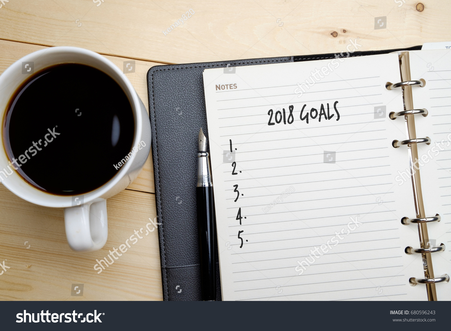 2018 goals blank checklist note book stock photo 680596243 note book pen and a cup of coffee on geotapseo Gallery
