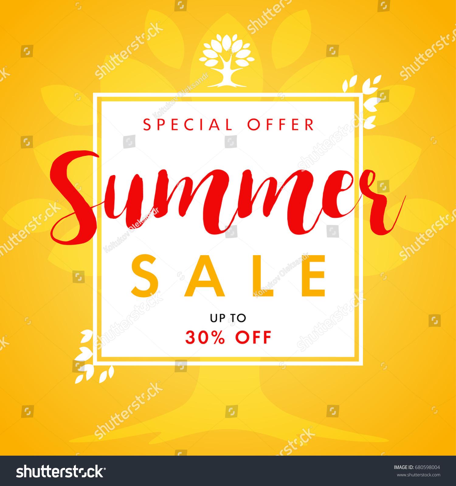 summer sale leaves tree frame banner stock vector 680598004