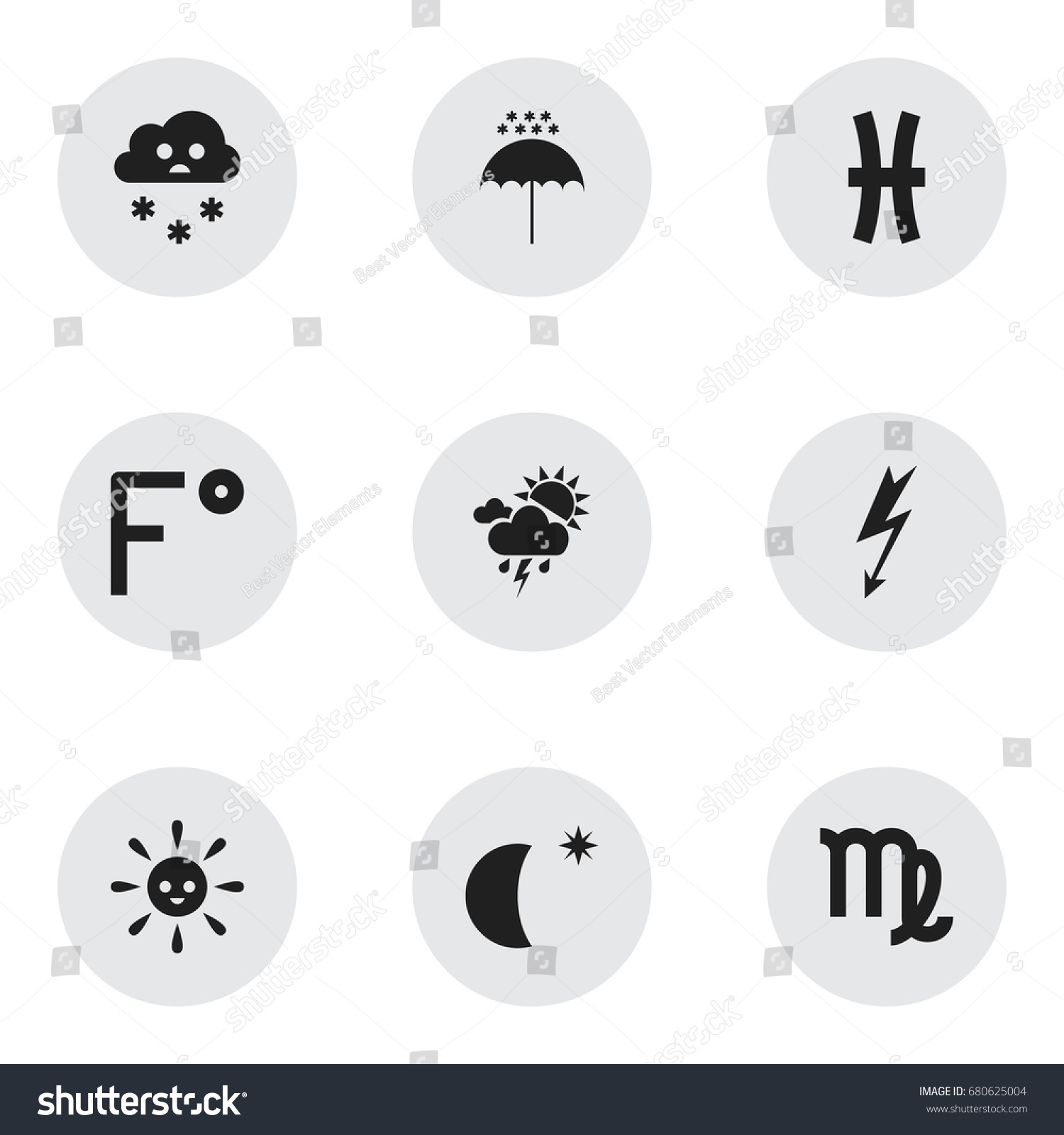 Set 9 editable weather icons includes stock vector 680625004 includes symbols such as winter parasol virgin biocorpaavc Image collections