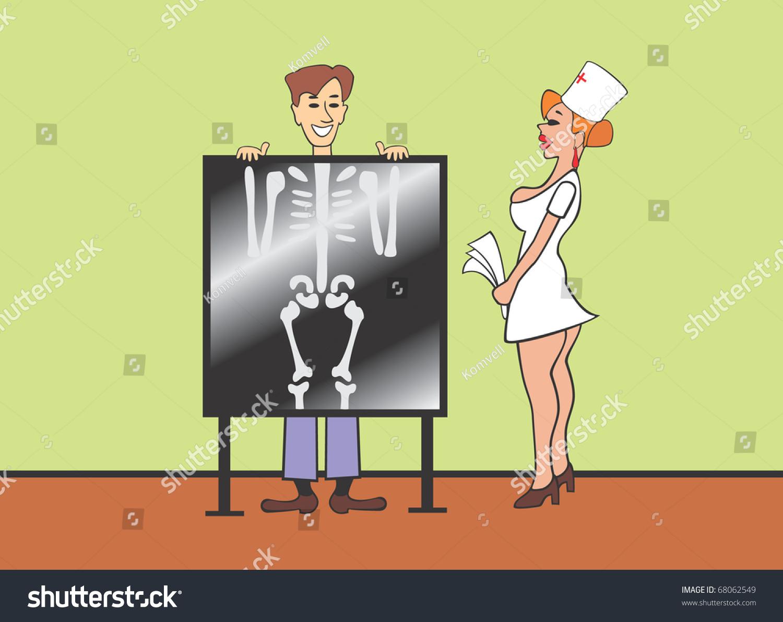Nurse Man Xray Machine Stock Illustration 68062549 ...