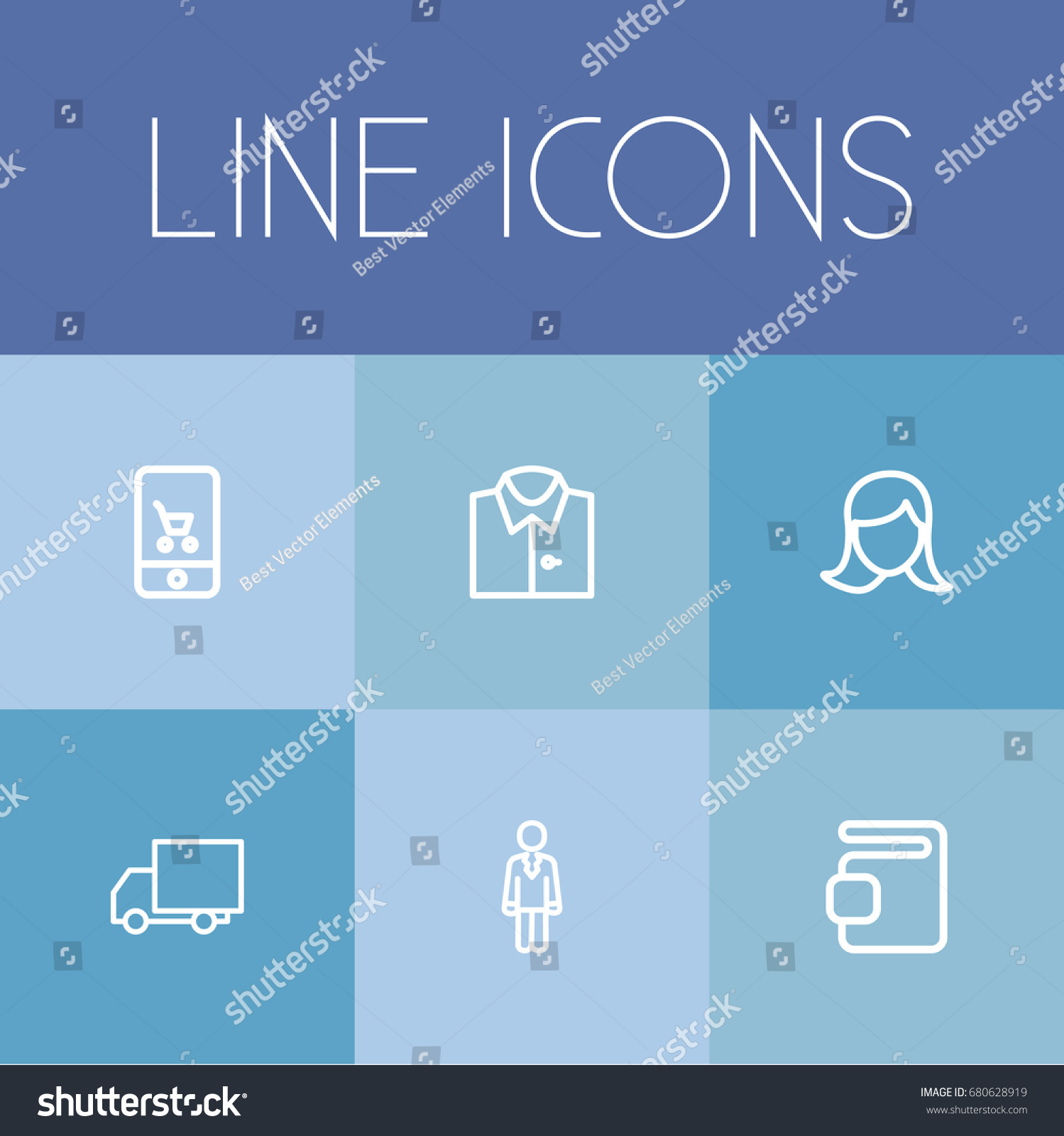 Set 6 Editable Shopping Outline Icons Stock Vector 680628919 ...