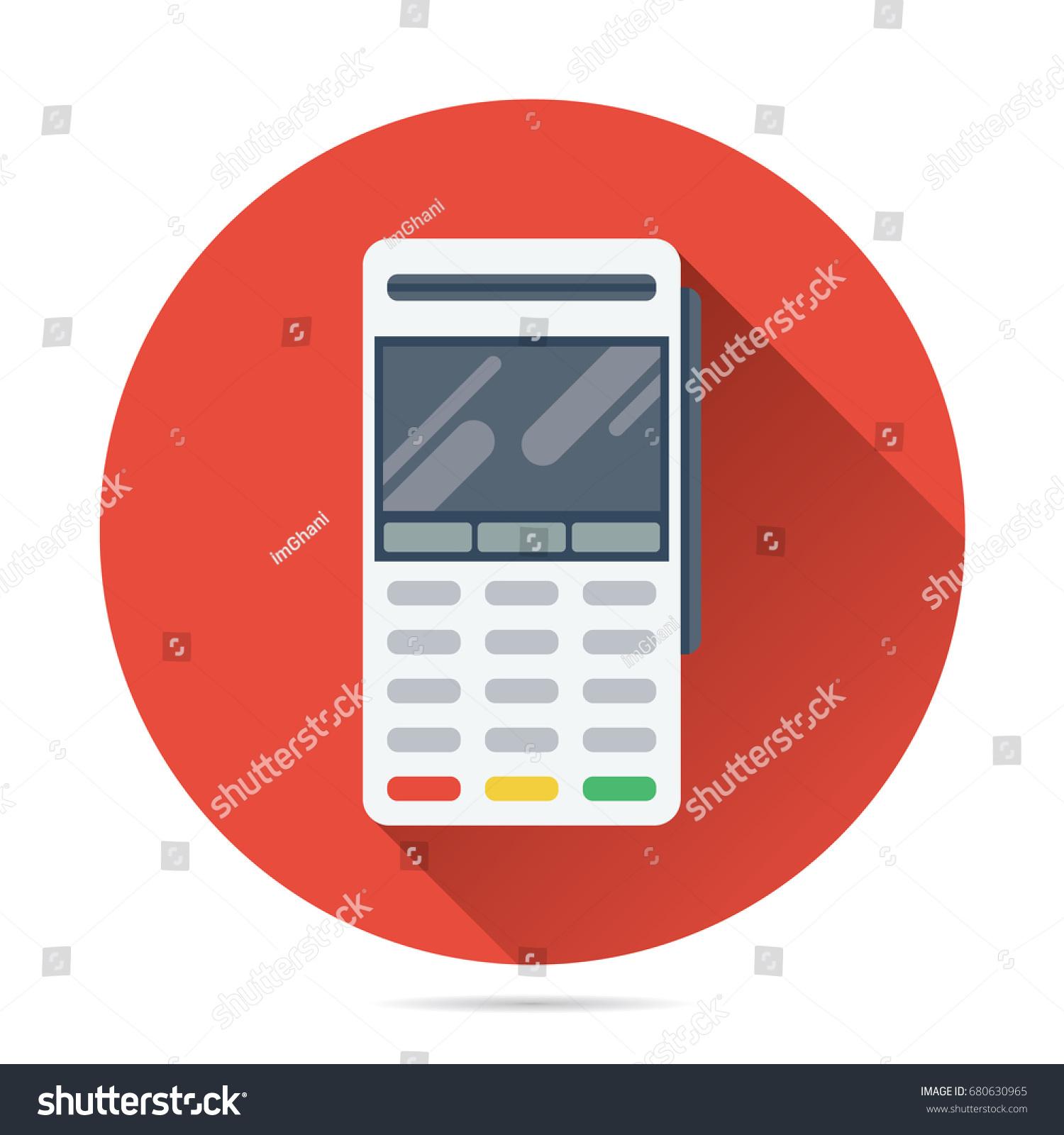Pos Terminal Vector Flat Style Credit Stock Vector 680630965 ...