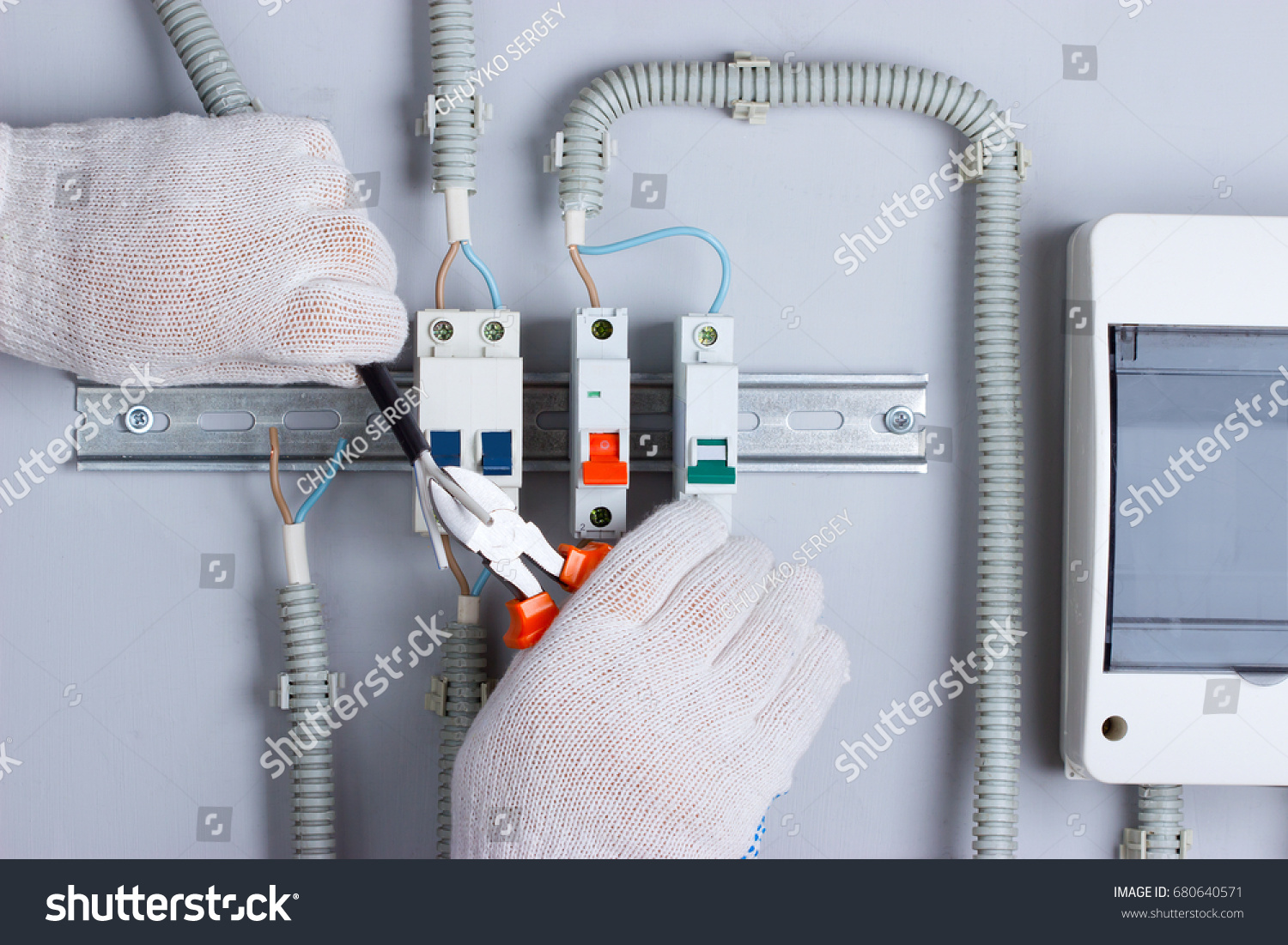Electrician Connecting Wires Distribution Board Stock Photo Edit Wiring In