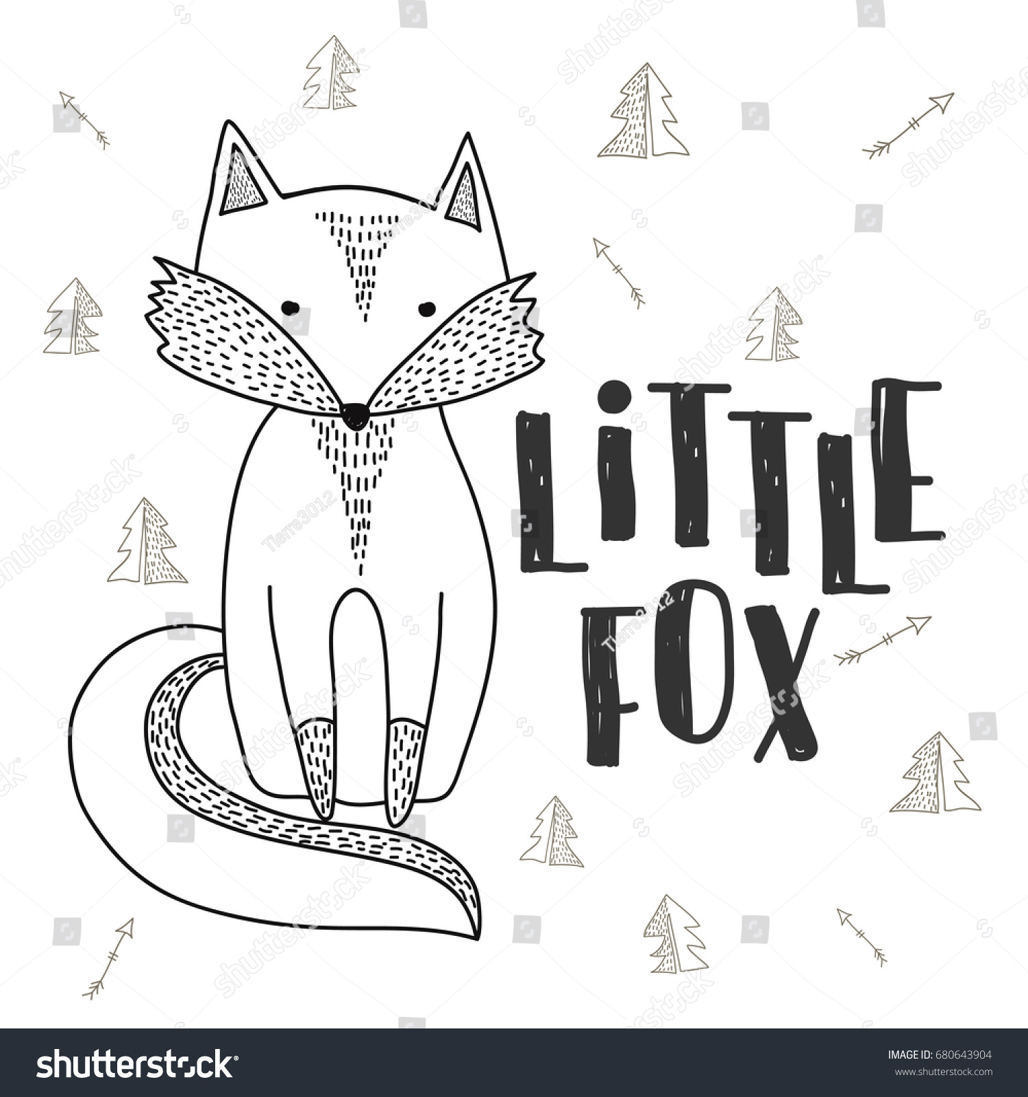 fox poster hand drawn cute little stock vector 680643904
