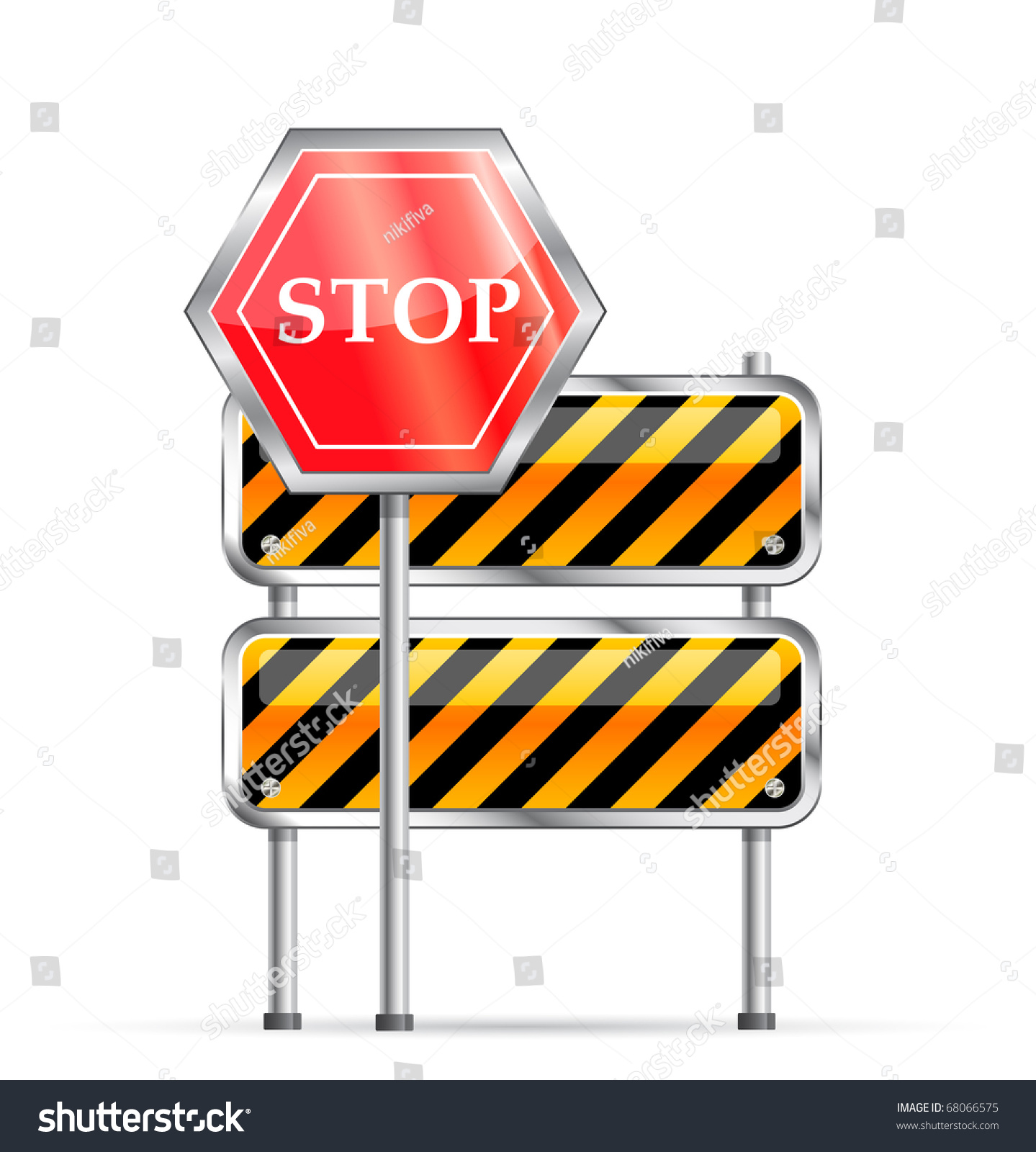 Road Barricade Signs Stock Vector Stop Road Sign And Striped Barrier